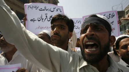 A man shouts during a protest against Facebook in Peshawar on May 26, 2010. (Reuters)