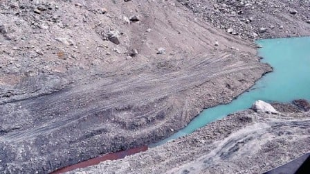 A view of the spillway of the Attabad lake. PHOTO: AFP