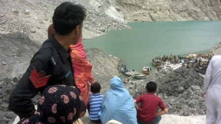 The Hunza lake is expected to spill by May 28. PHOTO: EPA
