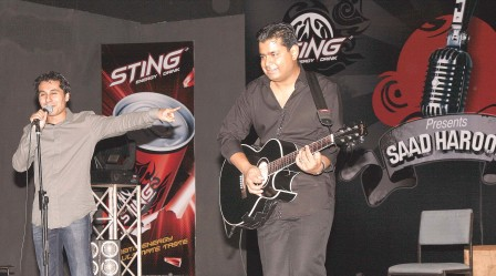 Saad Haroon and guitarist Amin perform at the opening night of the three-day tour. PHOTO: PRODUCTION ILLUSIONS