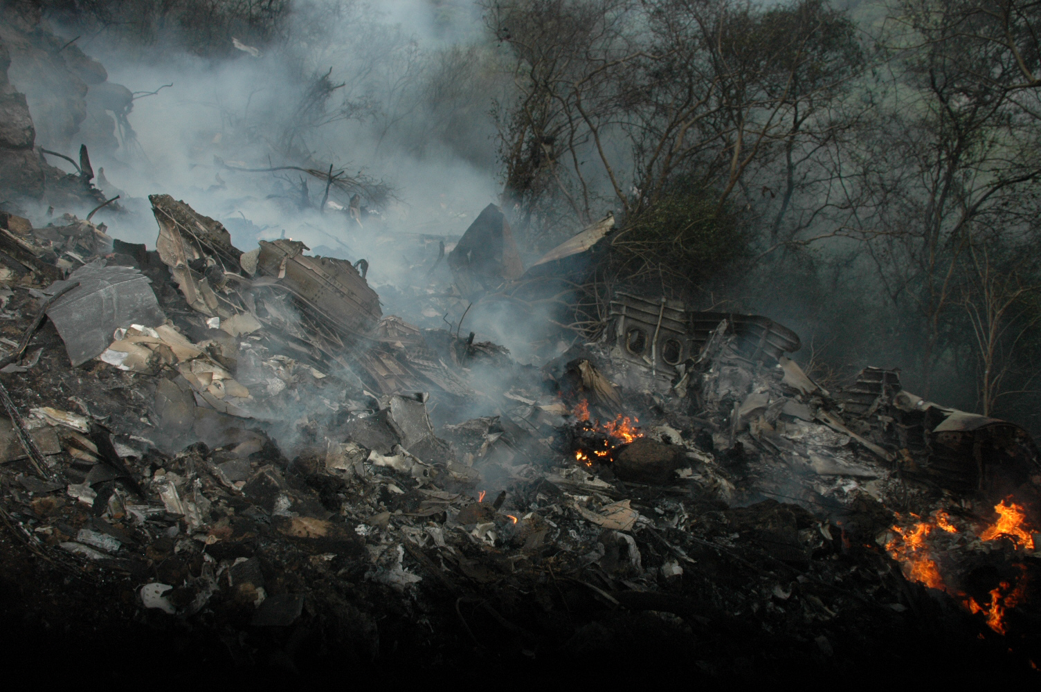 Wreckage of the crashed plane. PHOTO: QAZI USMAN
