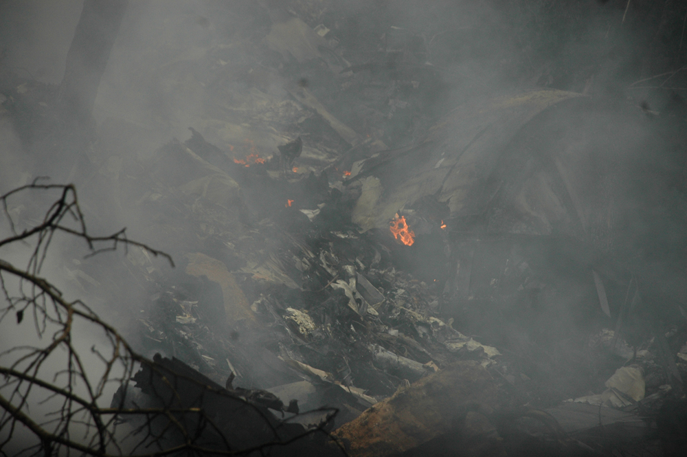 Wreckage of the plane. PHOTO: QAZI USMAN