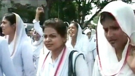 Nurses staged a protest at Jinnah Postgraduate Medical Centre after a doctor allegedly raped a medical student.