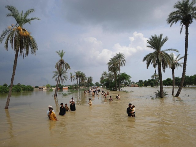 Flood survivors evacute a flooded area of Bassera village on August 13, 2010. PHOTO: AFP