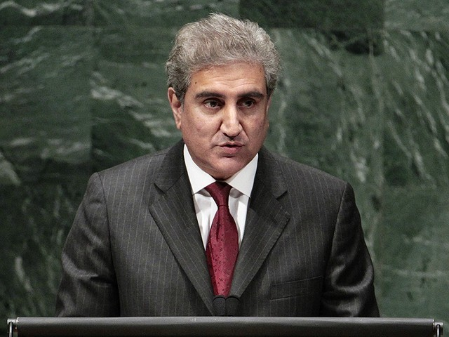 Foreign Minister Shah Mehmood Qureshi addressing the United Nations General Assembly. PHOTO: REUTERS
