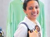 Accessory designer Mahin Hussain sports her new bag.