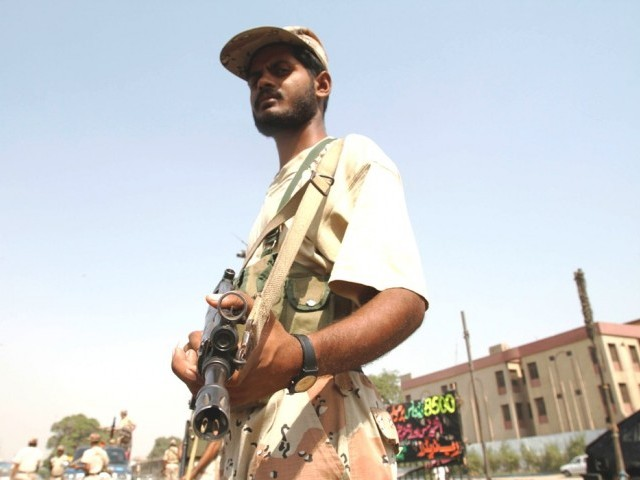 Rangers patrol the streets of Karachi. PHOTO: ATHAR KHAN