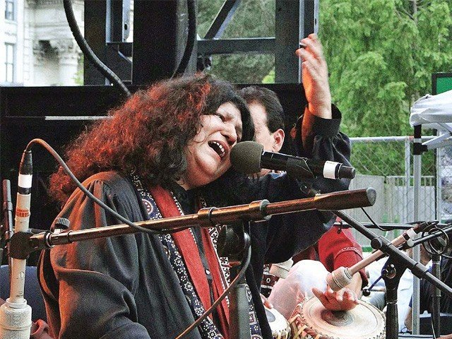 Abida Parveen says she has been offered to sing playback by filmmakers such as Subhash Ghai and Yash Chopra but is busy spreading the message in sufi poetry for now. PHOTO: APP