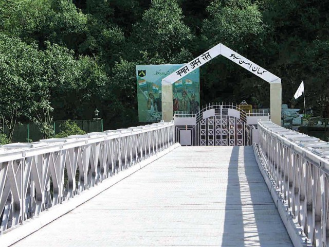 The famous bridge at the LoC, which the organisers plan to cross. Photo: express