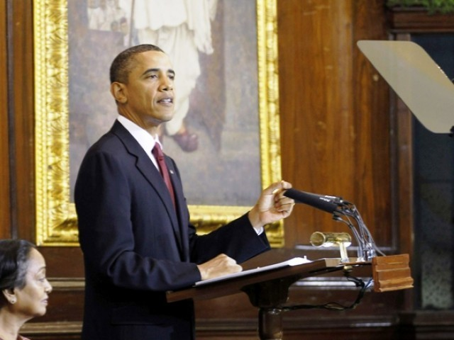 U.S. President Barack Obama delivers an address to India's parliament in New Delhi, November 8. PHOTO: AFP