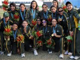 The Pakistan women's cricket team players pose with their medals after the award ceremony of the women's cricket finals at the 16th Asian Games in Guangzhou on November 19, 2010. PHOTO: AFP
