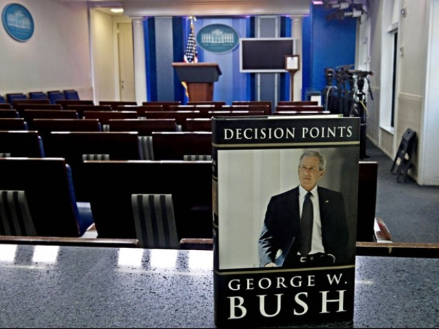Former US president George W. Bush's new book 'Decision Points' is pictured in the White House Brady Briefing Room in Washington.  PHOTO: AFP