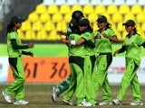 Pakistan players celebrate the dismissal of Bangladesh batswoman Panna Ghosh during their women's limited overs cricket final at the 16th Asian Games. PHOTO: AFP