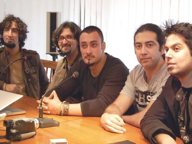 Members of Qayaas band talking to the media during a press conference at Kuch Khaas on Wednesday. PHOTO: EXPRESS