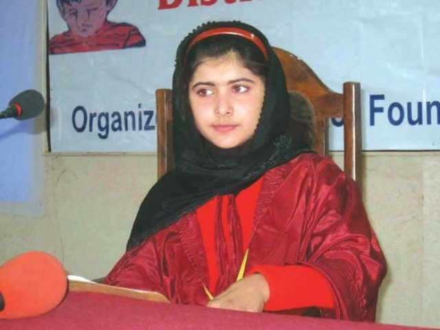 A student presides over District Child Assembly in Swat on Tuesday. PHOTO: EXPRESS