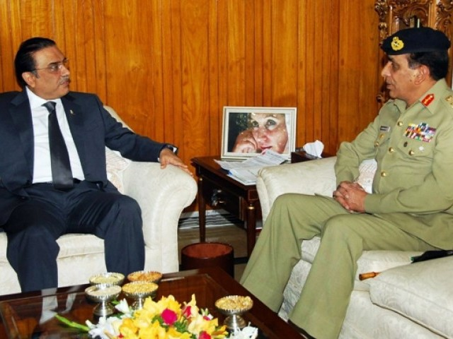 File photo President Asif Ali Zardari speaking with Army Chief General Ashfaq Kayani during a meeting in Islamabad. PHOTO: AFP