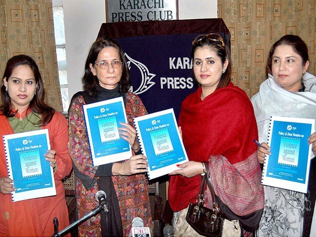 Aurat Foundation releases bi-annual report. PHOTO : APP