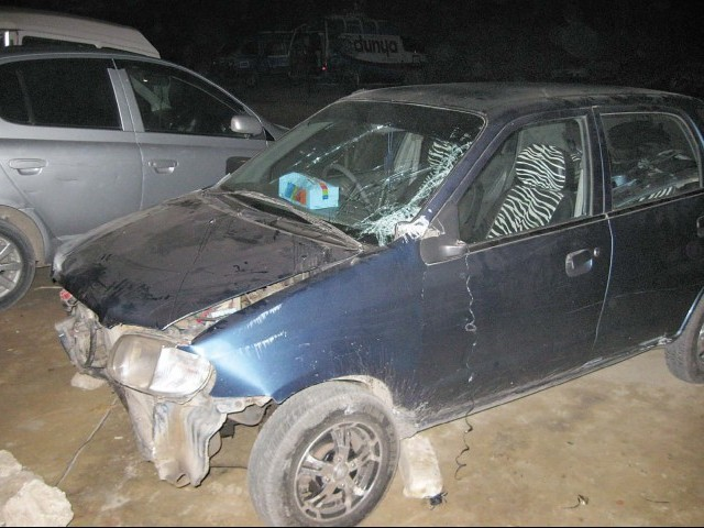 A file photo of the damaged car of the victim into which the assailant rammed his car. PHOTO: SABA IMTIAZ/EXPRESS