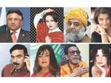"Veena's Pakistani ""Bigg Boss"" Dream Team: (from left to right) Pervez Musharraf, Nargis, Maulana Fazlur Rehman, Aishwarya Rai Bachchan, Sheikh Rashid, Dolly Bindra, Bal Thackeray and last, but never least, Meera."
