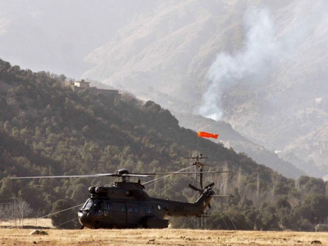Smoke rising from the mountains of Ladha, in South Waziristan, during a Pakistan Army crackdown against militants. PHOTO: ONLINE