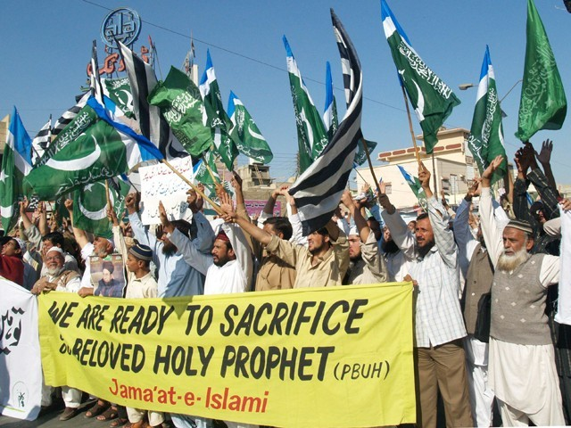 Activists of chant slogans against Asia Bibi, a Christian mother sentenced to death, during a protest in Karachi on December 3, 2010. PHOTO: IRFAN ALI