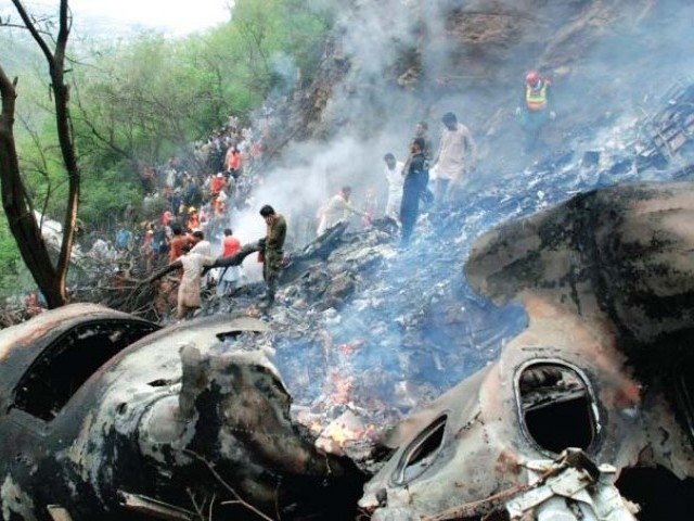 The site of the AirBlue plane crash in Islamabad. PHOTO: FILE