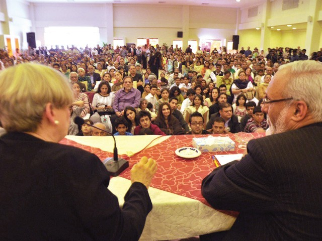 Karen Armstrong's session on Sunday was packed to the brim. PHOTO: EXPRESS