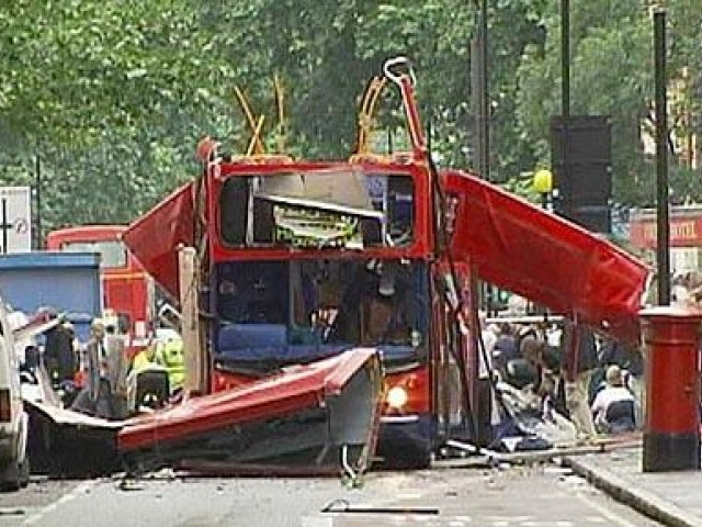 The wreckage of a London bus after the 7/7 bombing in Tavistock Square. PHOTO: REUTERS/FILE