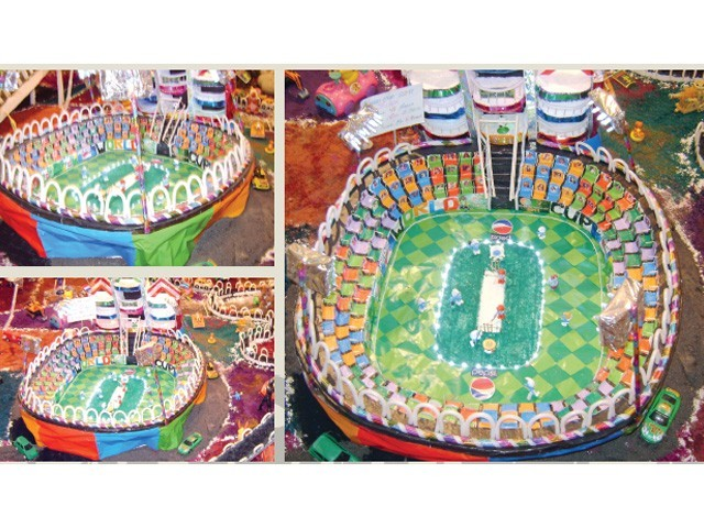 A resident of Multan built the model stadiums in the wake of the World Cup fever. PHOTO: EXPRESS