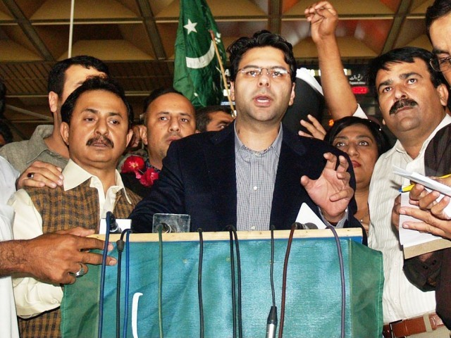 PML-Q leader and member of Punjab Assembly Moonis Elahi talking to the media after his arrival at the Jinnah Internation Airport in Karachi, February 23, 2011. PHOTO: ONLINE