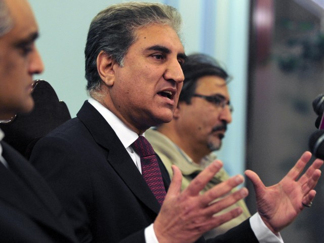 Pakistan's former foreign minister Shah Mehmood Qureshi speaks during a news conference in Islamabad on February 16, 2011. PHOTO: AFP