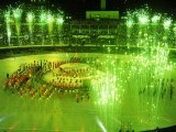 Performers participate in the World Cup Cricket opening ceremony at the Bangabandhu National Stadium in Dhaka on February 17, 2011.  AFP PHOTO/Munir UZ ZAMAN