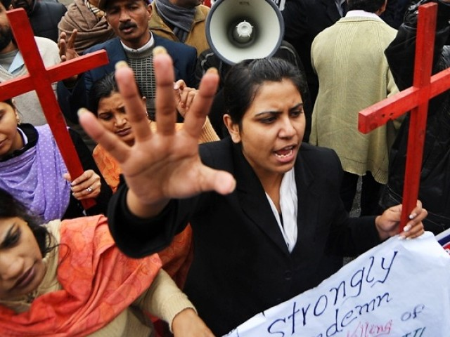 Christians mourn the death of slain minorities minister Shahbaz Bhatti during a protest in Lahore on March 2, 2011. PHOTO: AFP