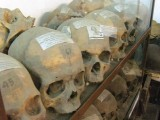 Artifacts at the museum, among them skulls and bones discovered from a mass grave in Dhaka.
