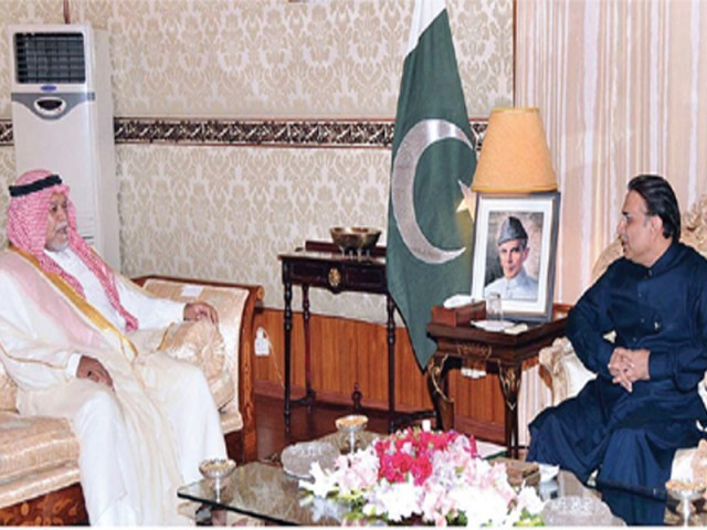 President Zardari with the Saudi prince at the President House in an earlier meeting. PHOTO: APP/FILE
