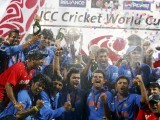 India's players celebrate with their trophy after India won their ICC Cricket World Cup final match against Sri Lanka in Mumbai April 2, 2011. PHOTO: REUTERS