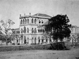 A view of the old school building, dismantled in 1948, taken from the school magazine in 1961.   PHOTOGRAPHED FROM SCHOOL RECORDS BY HARIS ZUBERI