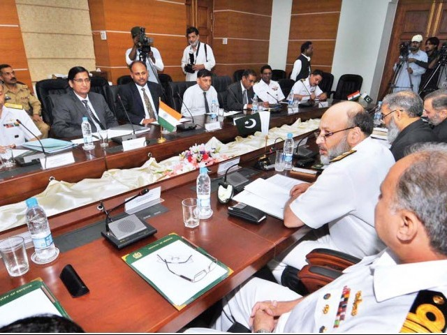Rear Admiral Shah Sohail Masood and the SurveyorGeneral of India Subba Rao during the delegation level talks at the ministry of defence. PHOTO: APP