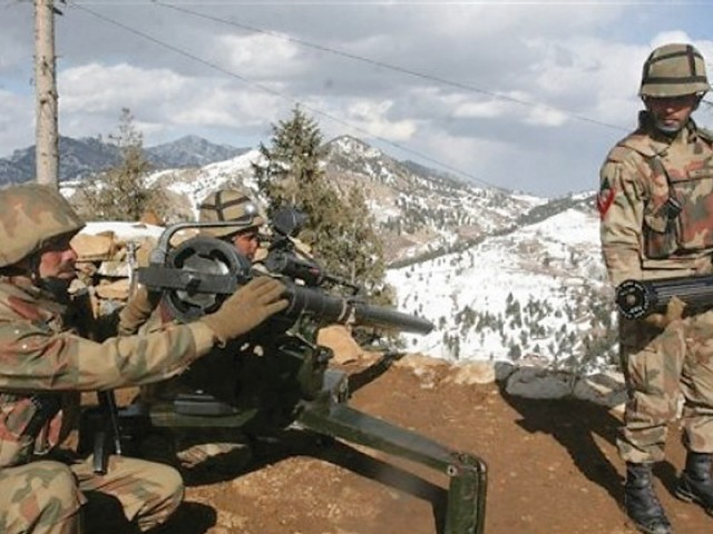In this picture taken on March 7, 2011, Pakistan Army soldiers take positions at Datta Khel in North Waziristan. PHOTO: FILE