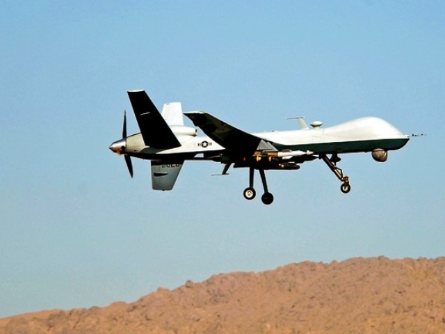 The drone fired four missiles on a double cabin van carrying six people.    PHOTO: AFP