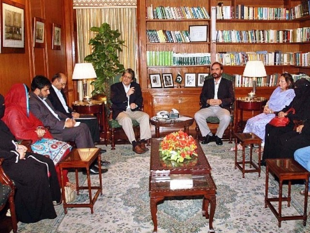 Families of Merchant Navy Officers kidnapped by Somalian pirates called on Governor Sindh Dr Ishratul Ebad Khan. PHOTO: APP/FILE