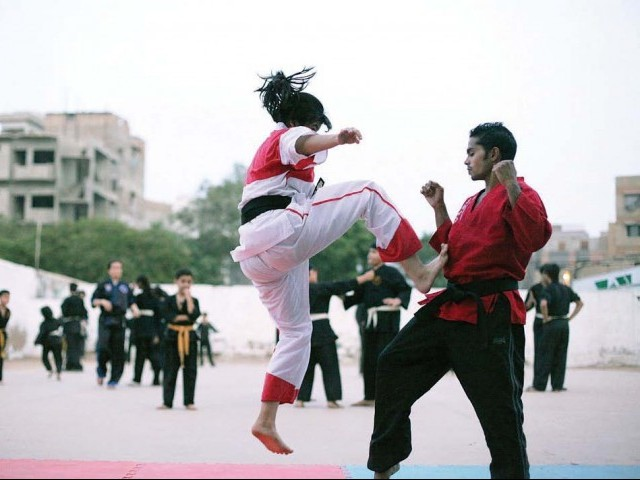 Grand master Ashraf Tai's daughter Maham, 14, demonstrating a front jerk kick. She is a second-generation black belt and has been practicing since the age of one. PHOTOS: NEFER SEHGAL/EXPRESS