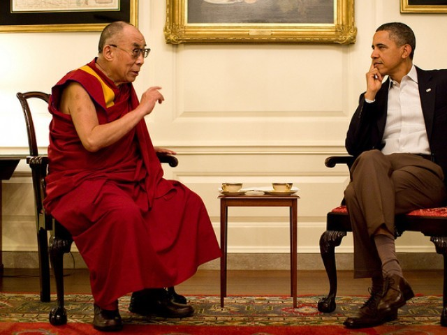 President Obama meets with the Dalai Lama at the White House on Saturday. PHOTO: White House