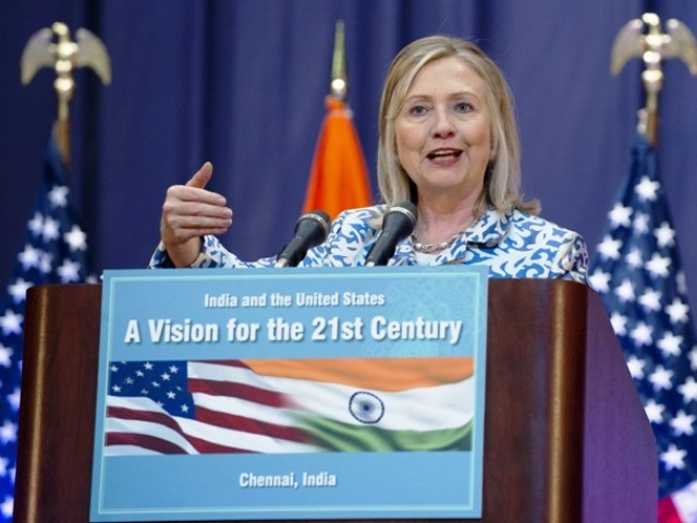 US Secretary of State Hillary Clinton delivers a speech at the Anna Centenary Library in Chennai on July 20, 2011. PHOTO: AFP