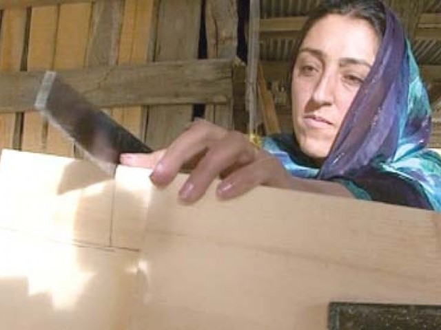 Female artisans working on different wooden works in Hunza. PHOTOS: EXPRESS NEWS
