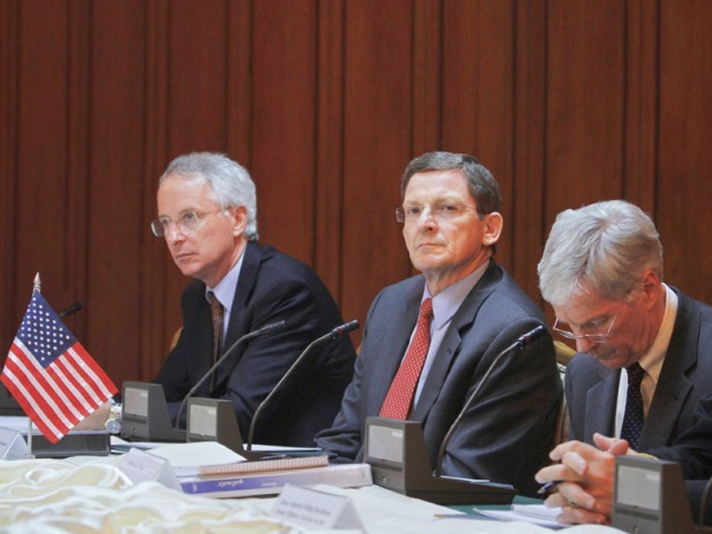US special envoy for Afghanistan and Pakistan Marc Grossman (C), US Ambassador to Pakistan Cameron Munter (L) and US Ambassador to Afghanistan Ryan Crocker attend a tripartite meeting of Pakistani, US and Afghan officials at the foreign ministry in Islamabad. PHOTO: REUTERS