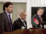 Afghan Deputy Foreign Minister, Jaweed Ludin (L), Pakistani Foreign Secretary Salman Bashir (C) and US Representative for Afghanistan and Pakistan, Marc Grossman (R) address a joint press conference in Islamabad on August 2, 2011. PHOTO: AFP