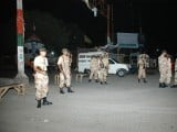 Rangers stand alert in the troubled New Karachi area of the city. PHOTO: MOHAMMAD NOMAN/EXPRESS