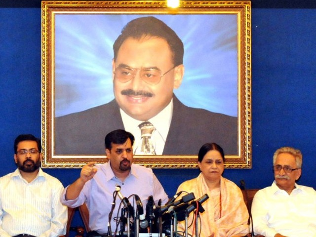 Mustafa Kamal addresses the media, answering allegations against the MQM. PHOTO: COURTESY MQM