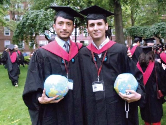 Karrar Hussain Jaffar (left) at his commencement at Harvard University. PHOTO KARRAR HUSSAIN